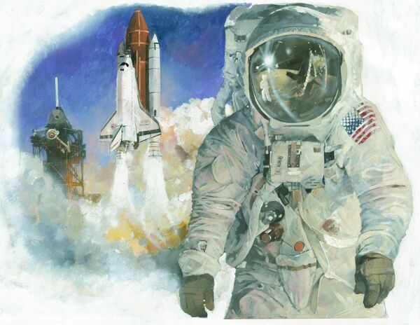 American astronaut Buzz Aldrin in his space suit, the second man to walk on the moon during the Apollo 11 mission in July 1969. In the background is NASA's Space Shuttle Discovery launching from Kennedy Space Centre in 1984. Illustration by Ivan Lapper