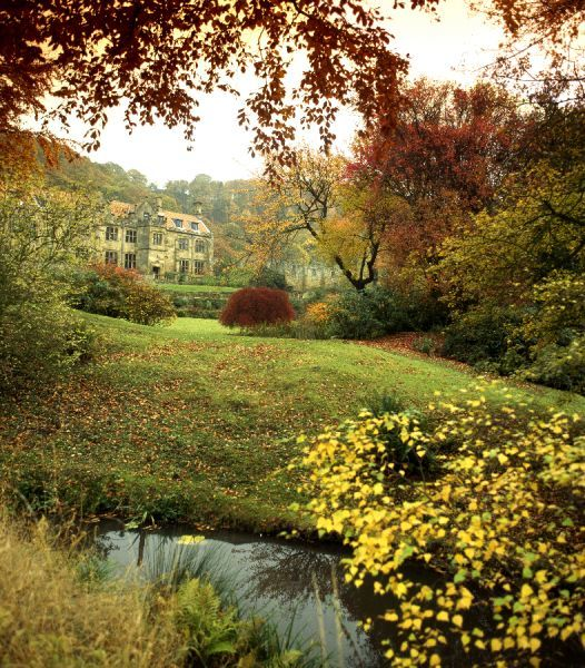 MOUNT GRACE PRIORY, North Yorkshire. Autumnal view of the manor house. View of former guest house and grounds in autumn