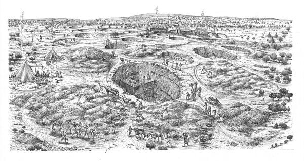 Easton Down, Wiltshire. Reconstruction drawing by Judith Dobie depicting a bird's eye view of the Neolithic flint mining site on Easton Down