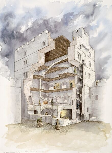 NORHAM CASTLE, Northumberland. Cutaway view of the keep in the mid 15th century. Reconstruction drawing by Peter Dunn (English Heritage Graphics Team)