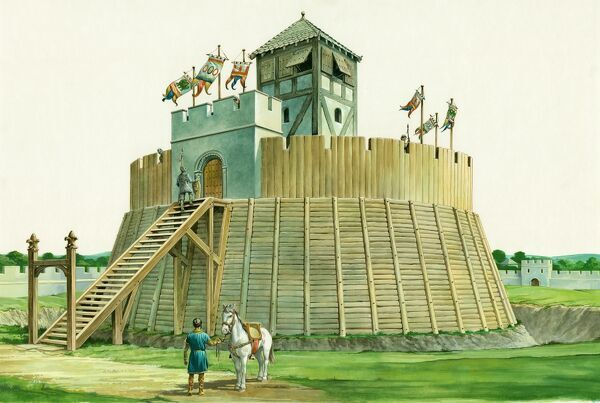 Reconstruction drawing, by Philip Corke, showing an exterior view of the Norman lookout tower at Bramber Castle, West Sussex