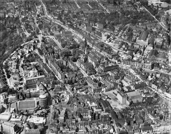 East Circus Street and the area around Park Row, Nottingham. Photographed by Aerofilms Ltd in August 1937