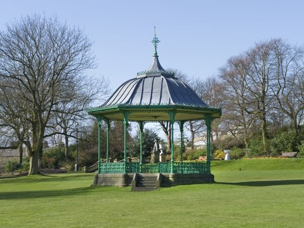 Peoples Park, Halifax, West Yorkshire. A view of the bandstand. Photographed in 2010