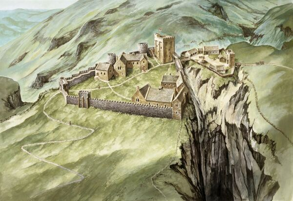 PEVERIL CASTLE, Derbyshire. Aerial view reconstruction drawing of the castle in the 14th century by Peter Urmston