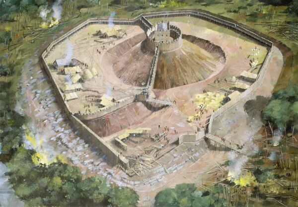 PICKERING CASTLE, North Yorkshire. Reconstruction drawing showing how the first wooden motte and bailey castle may have appeared in the early 12th century, by Ivan Lapper