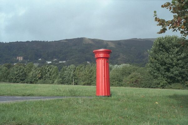 Victorian Post Box alongside road, Malvern Hills, Worcestershire. IoE 152138