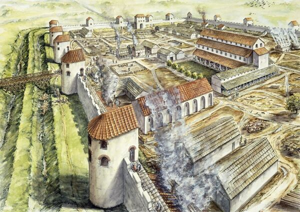 PORTCHESTER CASTLE, Hampshire. Reconstruction drawing of the Roman fort in AD 345 by Peter Dunn, English Heritage Graphics Team