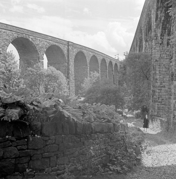 RAILWAY VIADUCTS, Chapel Milton, Chapel-en-le-Frith, Derbyshire. View of the twin railway viaducts at Chapel Milton. Photographed by Eric de Mare in 1954