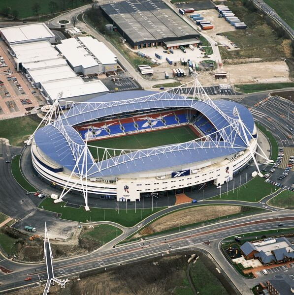 REEBOK STADIUM, Bolton. Aerial view of the home of Bolton Wanderers FC since 1997. Photographed in 1998. Aerofilms Collection (see Links)