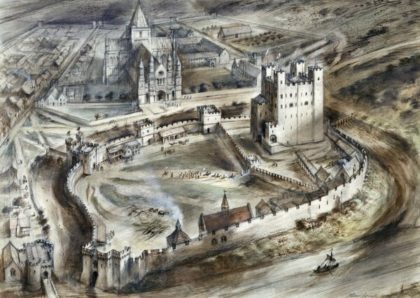 ROCHESTER CASTLE, Kent. Aerial reconstruction drawing by Alan Sorrell showing the castle as it might have appeared in the fifteenth century