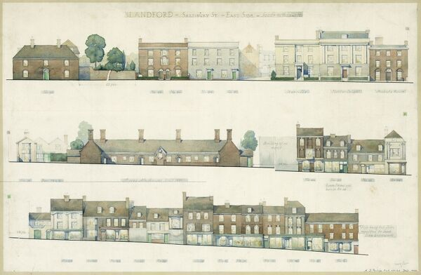Labelled sheet showing exterior elevations of the facades along the east side of Salisbury Street in Blandford Forum, Dorset. 1943 measured drawing by A. J. Phillips, Royal Commission on the Historical Monuments of England (RCHME)