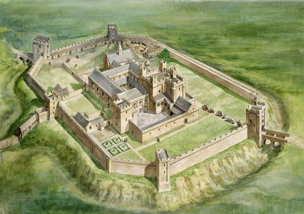 SHERBORNE OLD CASTLE, Dorset. The castle as it may have appeared in the mid-fourteenth century under the ownership of Robert Wyvil, Bishop of Salisbury. A birds eye view, reconstruction drawing by Philip Corke