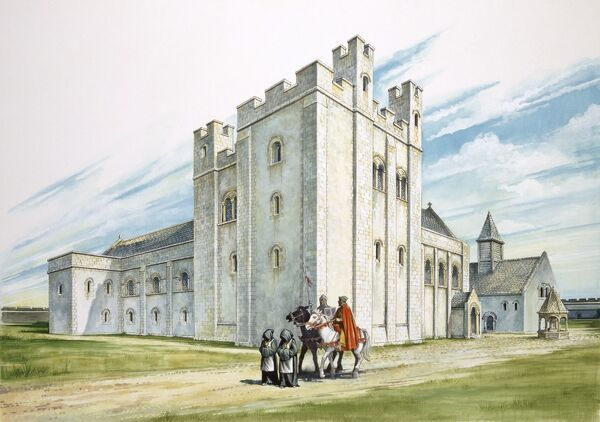 SHERBORNE OLD CASTLE, Dorset. 'The Central Buildings'. Reconstruction drawing, by Philip Corke, depicting the outer courtyard at Sherborne Old Castle as it may have appeared in the twelfth century shortly after the castle's completion