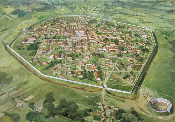 SILCHESTER ROMAN CITY WALLS, Hampshire. Aerial reconstruction drawing by Ivan Lapper. 3rd century AD