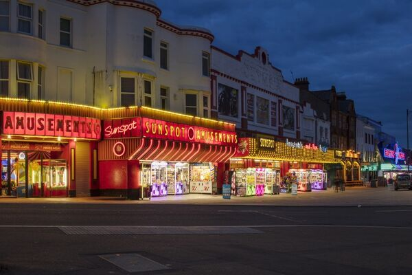 Southend-on- Sea, Essex. Marine Parade at night, from south west