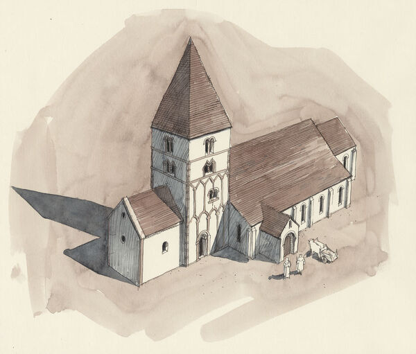 ST PETER'S CHURCH, Barton-upon-Humber, Lincolnshire. Aerial view reconstruction drawing by Liam Wales of the church in Norman period