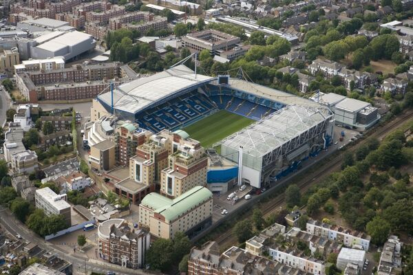 STAMFORD BRIDGE STADIUM, London. Aerial view. Home of Chelsea Football Club. Photographed in August 2006