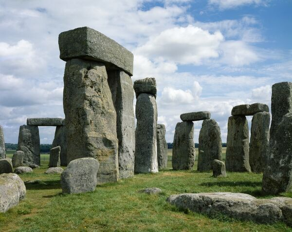 STONEHENGE, Wiltshire. View of the stones against a cloudy summer sky