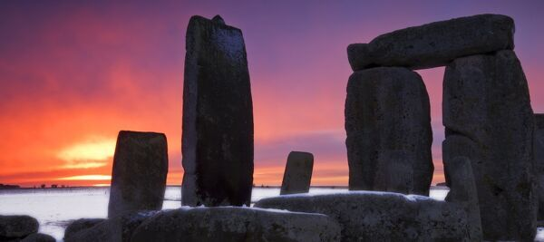 STONEHENGE, Wiltshire. General view of the stones at sunset