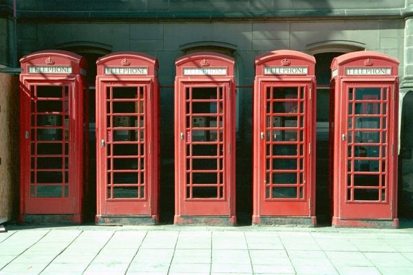 Group of 5 telephone kiosks on east side of town hall, Middlesbrough, North Yorkshire. IoE 59704