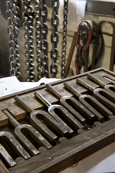 Whitechapel Bell Foundry, 32-34 Whitechapel Road, Tower Hamlets, London. Interior detail of tuning forks in the bell tuning room