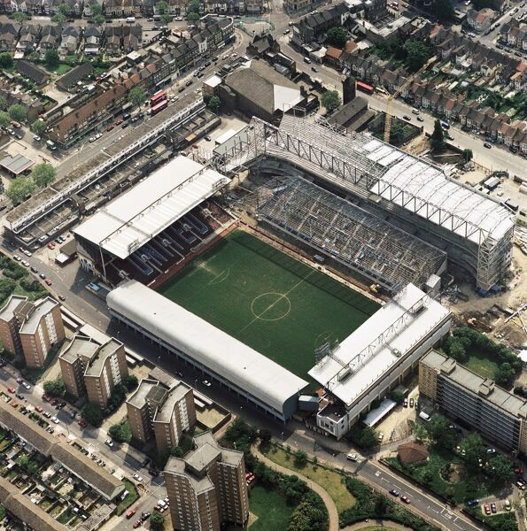 UPTON PARK, London. Aerial view of the Boleyn Ground Stadium, home of West Ham United Football Club since 1904. Photographed in 2001 showing the West Stand under construction. Aerofilms Collection (see Links)