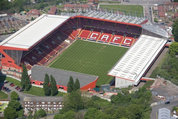 THE VALLEY, Charlton, London. Aerial view. Home of Charlton Athletic Football Club since 1919. After ground closure in 1985, Charlton moved back into a renovated stadium in 1992 and have since rebuilt three sides of the ground to offer a 27