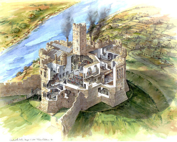 Warkworth Castle, Northumberland. Reconstruction cutaway drawing by Peter Dunn of the Keep and village, c.1500