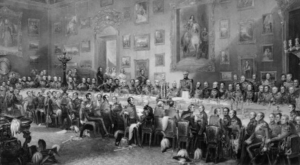 "WALMER CASTLE, Kent. Engraving of ""The Banquet after the Battle of Waterloo"". The banquet was held at Apsley House. Also see: N970007 - Key to Waterloo Banquet engraving"