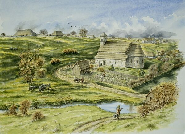 WHARRAM PERCY MEDIEVAL VILLAGE, North Yorkshire. Reconstruction drawing by Peter Dunn (English Heritage Graphics Team) of the Norman church and semicircular apse & vicarage to the south. Late 12th century