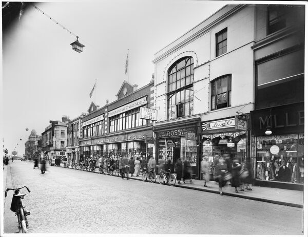 F W Woolworth And Company Limited, 29-35 High Street, Southend-on-Sea. A view south along the High Street in Southend-on-Sea in October 1938, with shoppers and cyclists outside the store