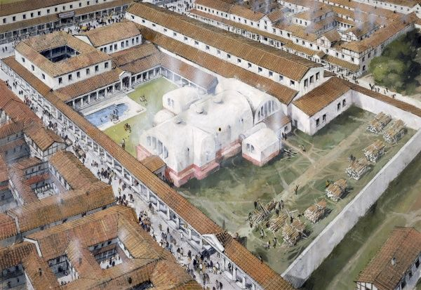 WROXETER ROMAN CITY, Shropshire. Aerial view reconstuction drawing of the baths in the 2nd century AD by Ivan Lapper