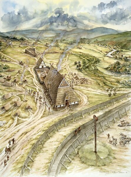 YEAVERING, Northumberland (also know as Ad Gefrin). Reconstruction drawing of Saxon Yeavering AD 627, by Peter Dunn (English Heritage Graphics Team)
