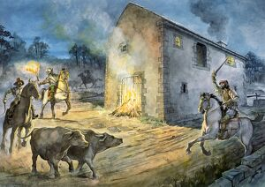 Reivers raiding Birdoswald in the 16th century J050057