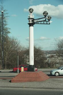 Signpost at Three Lamps Junction