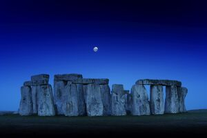 Stonehenge at dusk with moon N110366