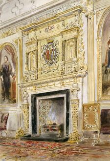 Watercolour of the saloon fireplace, Audley End House K991255