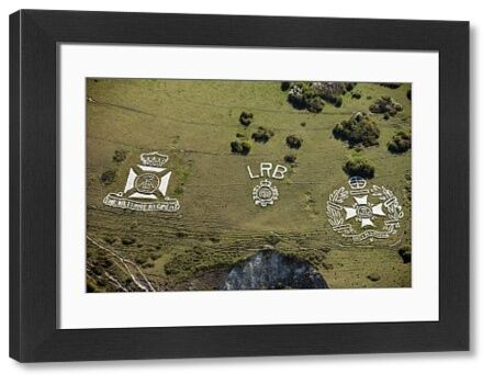 Chalk Military Badges of the Wiltshire Regiment, London Rifle Brigade and The Post Office Rifles, Part of the Fovant Badges, Fovant Down, Wiltshire, 2015