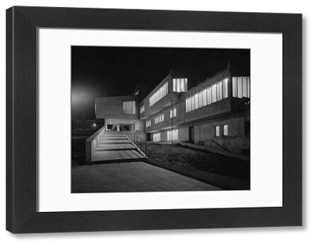 Exterior view of Dunelm House, Durham University, showing a walkway and stairs. Dunelm House was designed by Architects Co-Partnership, under the supervision of Sir Ove Arup, and completed in the Brutalist style in 1965. Photograph, 1965-70