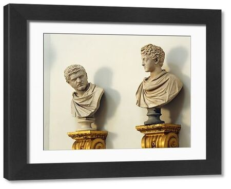 CHISWICK HOUSE, London. View of two of the busts in the Tribunal or Saloon. Statue heads