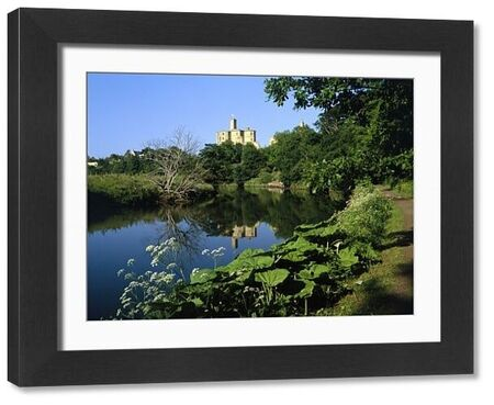 WARKWORTH CASTLE, Northumberland. View from the footpath along the River Coquet