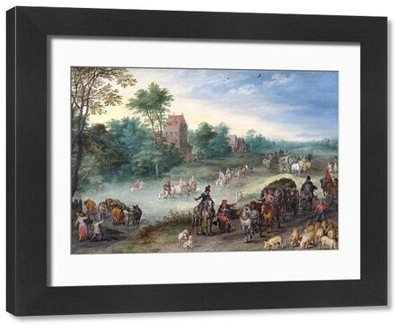 """APSLEY HOUSE, London. """"Travellers on a Country road with Cattle and Pigs' 1616 by Jan BRUEGHEL the Elder. WM 1634-1948. From Spanish Royal Collection. Captured by the Duke of Wellington at Vitoria 1813"""