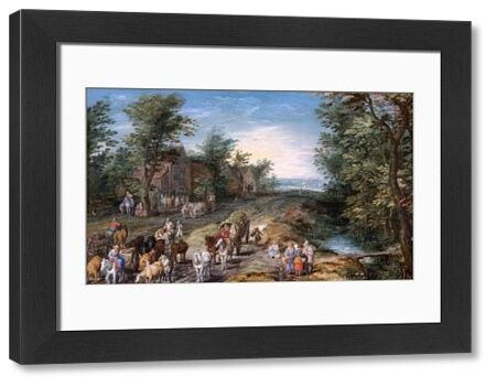"""APSLEY HOUSE, London. """"Road Scene with Travellers and Cattle"""" by Jan BRUEGHEL the Elder (1568-1621). WM 1639-1948. From Spanish Royal Collection. Captured by the Duke of Wellington at Vitoria 1813"""