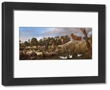 """APSLEY HOUSE, London. """"Landscape with two shepherds, cattle and ducks' by David TENIERS the younger (1610-90). Spanish Royal Collection. Captured at Vitoria, 1813. WM 1589-1948"""