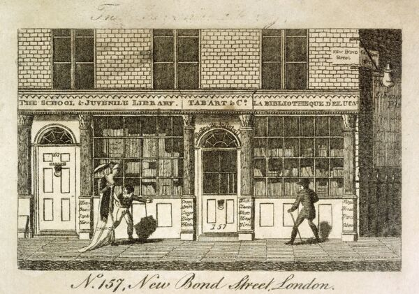"MAYSON BEETON COLLECTION. Engraving ""No 157 New Bond Street, London"" 1801. Exterior of the Juvenile Library"