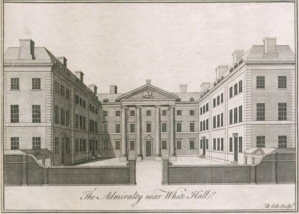 The Admiralty building near Whitehall, Westminster, London. Admiralty was built by Thomas Ripley 1723-26.   Engraving of 1750 by B. Cole. Mayson Beeton Collection