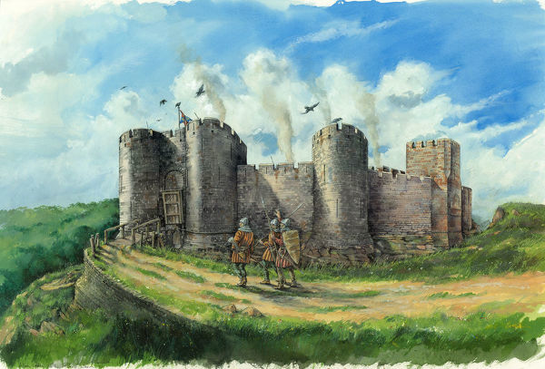 Alton Castle, Staffordshire. Reconstruction drawing, by Peter Dunn, showing soldiers and archers approaching the thirteenth century gatehouse