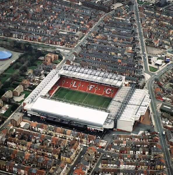 ANFIELD STADIUM, Liverpool. Aerial view. Home of Liverpool Football Club in 1998. Liverpool with Michael Owen finished 3rd in the Premiership that season. Aerofilms Collection (see Links)