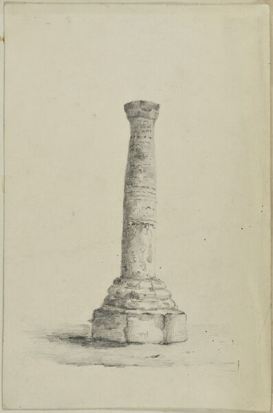 Anglo Saxon Cross, St Peter's Collegiate Church, Wolverhampton. Nineteenth century pencil drawing showing the Anglo Saxon cross shaft in the churchyard. Artwork collected by C G Harper