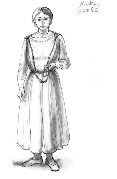 Mucking, Essex. Reconstruction drawing by Judith Dobie (English Heritage Graphics Team) showing a female wearing a tubular gown or peplos fastened by two brooches. Grave 615. Anglo Saxon